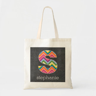 Chalkboard Monogram Letter S with Bright Chevrons Tote Bag