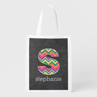 Chalkboard Monogram Letter S with Bright Chevrons Reusable Grocery Bags