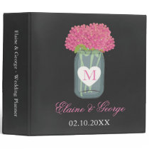 Chalkboard Monogram Mason Jar Wedding Planner Binder