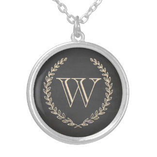 Chalkboard Monogram Silver Plated Necklace