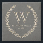 "Chalkboard Monogram Stone Coaster<br><div class=""desc"">Back and ivory chalkboard style monogram design by Shelby Allison.</div>"