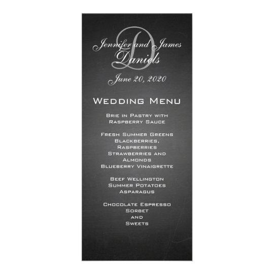 Chalkboard Monogram Wedding Menu Card