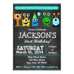 Chalkboard Monster First Birthday Invitation