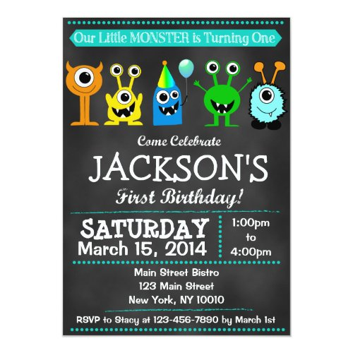 Chalkboard Monster First Birthday Invitation