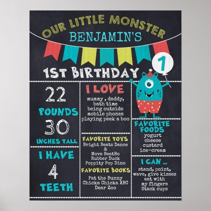 Boys First Birthday Personalized Custom Sign Birthday Board Teal Boys 1st Birthday Chalkboard Sign Printable Birthday Chalkboard Poster