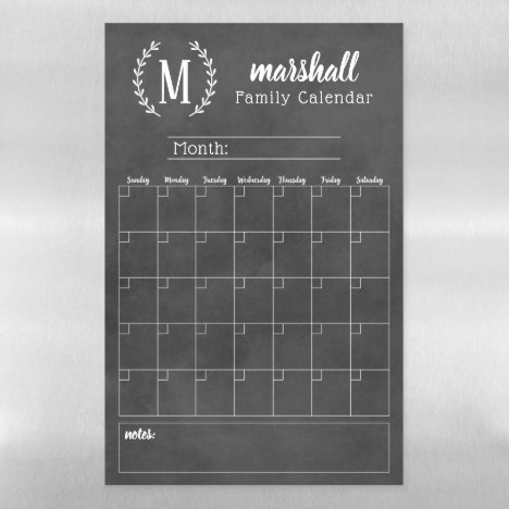 Chalkboard Monthly Family Monogram Calendar Magnetic Dry Erase Sheet