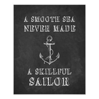 Chalkboard motivational quote Sailor poster