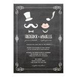 Chalkboard Moustache & Lips Vintage Wedding Invite