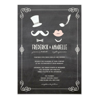 "Chalkboard Moustache & Lips Vintage Wedding Invite 5"" X 7"" Invitation Card"