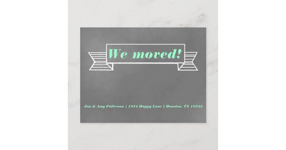 Chalkboard Moving Announcement Postcard Zazzle Com