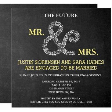 Chalkboard Mr And Mrs Engagement Party Invitation