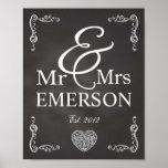 Chalkboard - Mr & Mrs custom name Poster