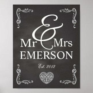 Chalkboard - Mr & Mrs custom name Posters