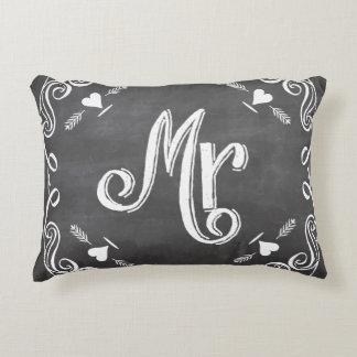 Chalkboard Mr. Sweetheart Wedding Accent Pillow
