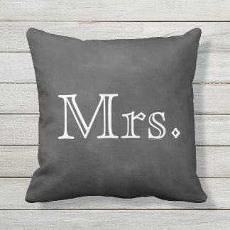 Chalkboard Mrs. Outdoor Pillow