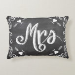 Chalkboard Mrs. Sweetheart Wedding Accent Pillow
