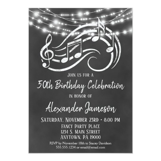 Chalkboard Music Birthday Party Invitation Adult Zazzlecom