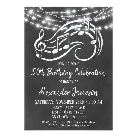 Chalkboard Music Birthday Party Invitation
