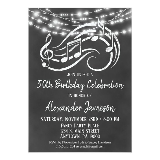 Chalkboard Music Birthday Party Invitation Adult