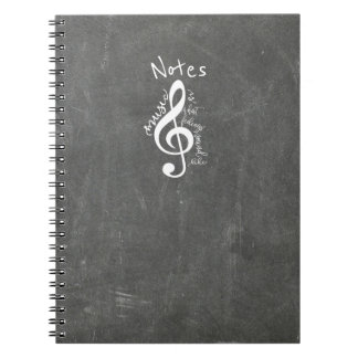 Chalkboard Music Is What Feelings Sound Like Quote Notebook