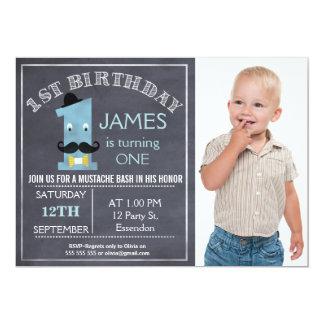 Chalkboard mustache 1st Birthday Party Invitation