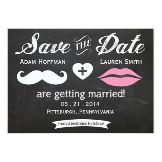 Chalkboard Mustache and Lips Save the Date Card