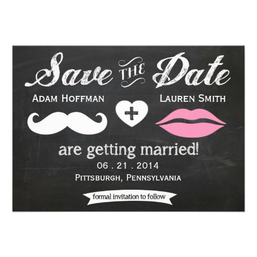 Chalkboard Mustache and Lips Save the Date Personalized Invitation