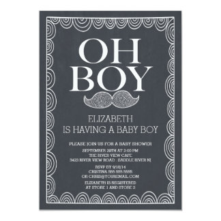 Chalkboard Mustache Baby Shower Invitatation Card