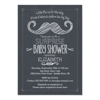 Chalkboard Mustache Baby Shower Invitatation Card