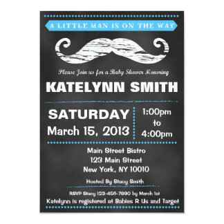 Chalkboard Mustache Baby Shower Invite