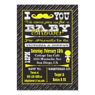 Chalkboard Mustache Baby Shower Party Invitations