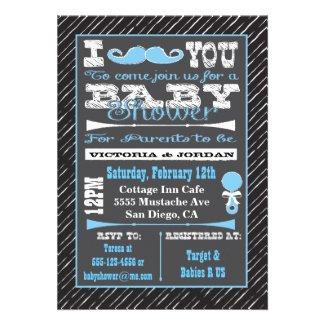 Chalkboard Mustache Boy Baby Shower Invitations