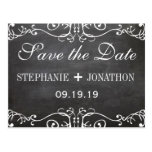 Chalkboard Mustache Lips Vintage Save the Date Post Card