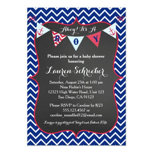 Chalkboard Nautical Baby Boy Shower Invitation