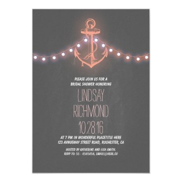 Beach Themed chalkboard nautical bridal shower invitation