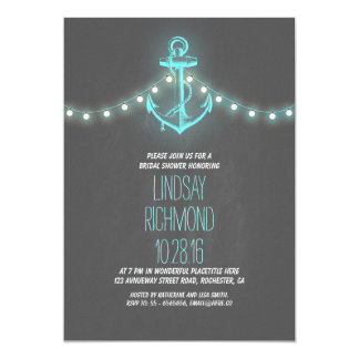 "chalkboard nautical bridal shower invitation 5"" x 7"" invitation card"