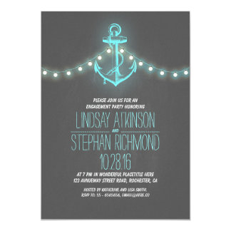 chalkboard nautical engagement party invitation
