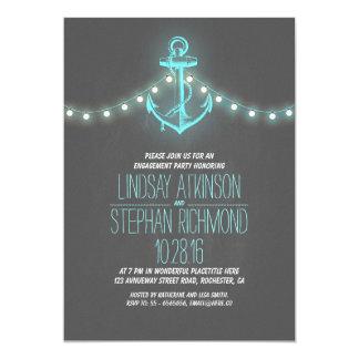 chalkboard nautical engagement party invitation