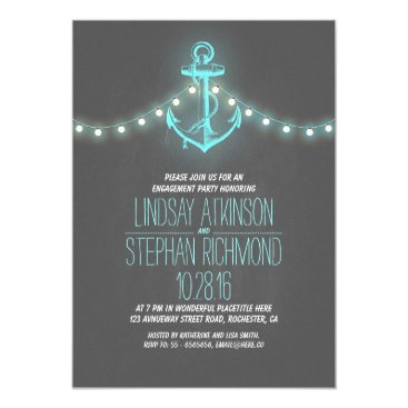 Beach Themed chalkboard nautical engagement party invitation