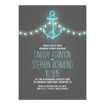 Beach Themed chalkboard nautical rehearsal dinner invitation