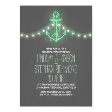 Beach Themed chalkboard nautical rehearsal dinner invitation
