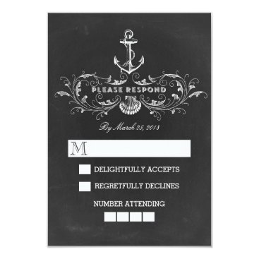 Beach Themed chalkboard nautical wedding RSVP cards