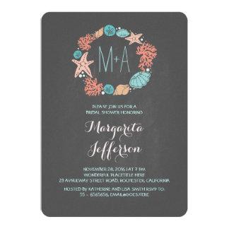 Chalkboard nautical wreath beach bridal shower 5x7 paper invitation card