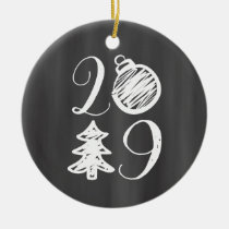 Chalkboard Newlywed Photo 1st Christmas Ceramic Ornament