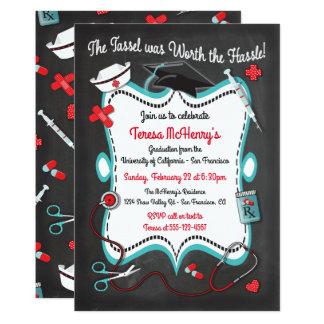 Chalkboard Nurse Medical Graduation Invitation