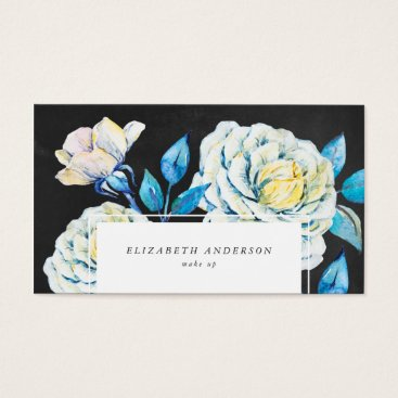 Professional Business Chalkboard Oil Painted White Rose Business Card
