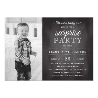 Chalkboard | Old & New Photo Surprise Birthday Invitation