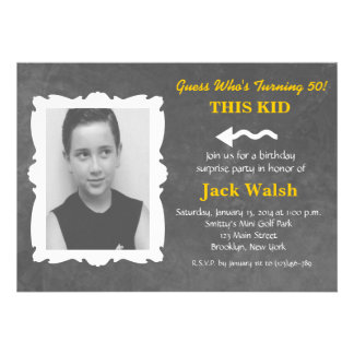 Chalkboard Old Photo Style Birthday Party Invite