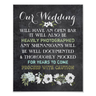 Chalkboard Open Bar Wedding Sign Floral Funny
