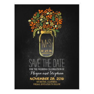 Chalkboard orange save the date - Floral Mason Jar Postcard